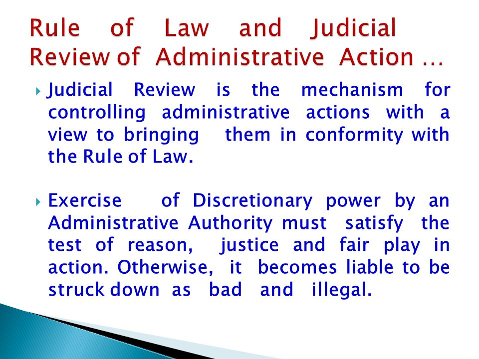 Rule of Law and Judicial Review of Administrative Action …