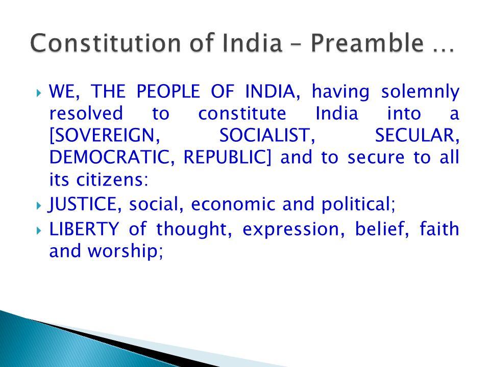 Constitution of India – Preamble …