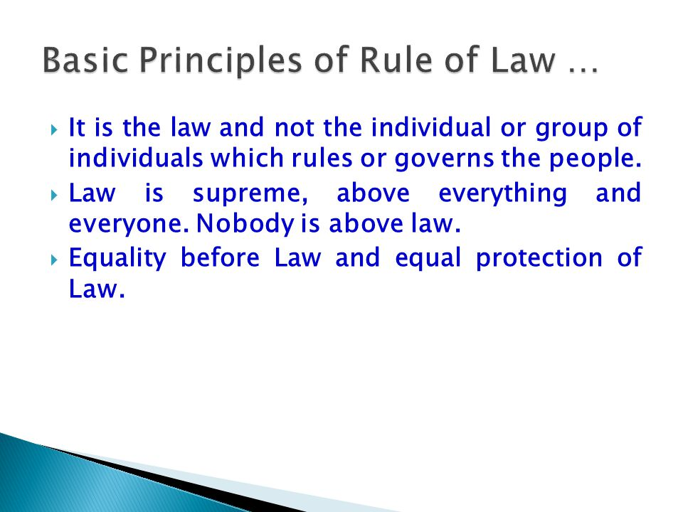 Basic Principles of Rule of Law …