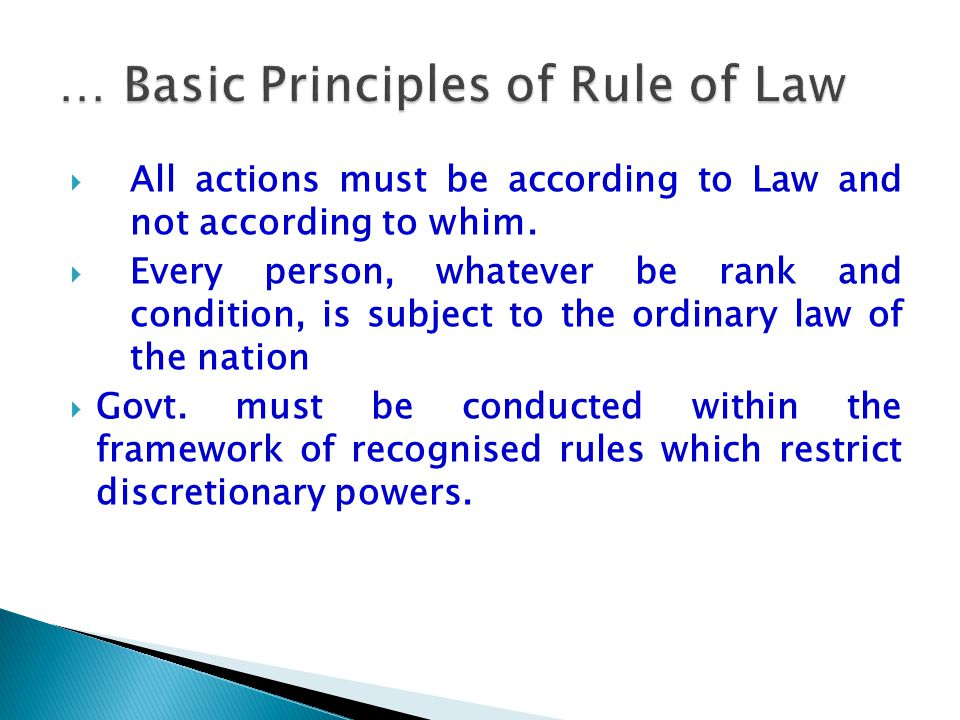 … Basic Principles of Rule of Law