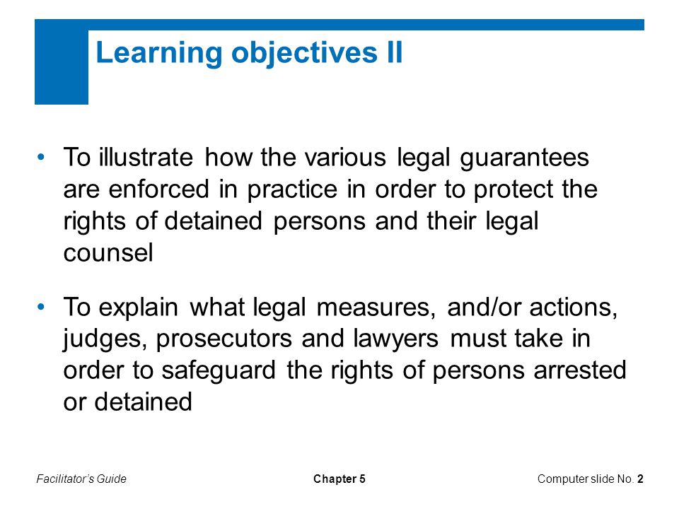 Learning objectives II