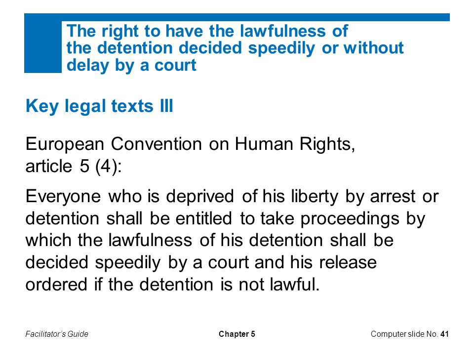 European Convention on Human Rights, article 5 (4):