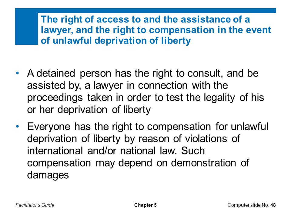 The right of access to and the assistance of a lawyer, and the right to compensation in the event of unlawful deprivation of liberty