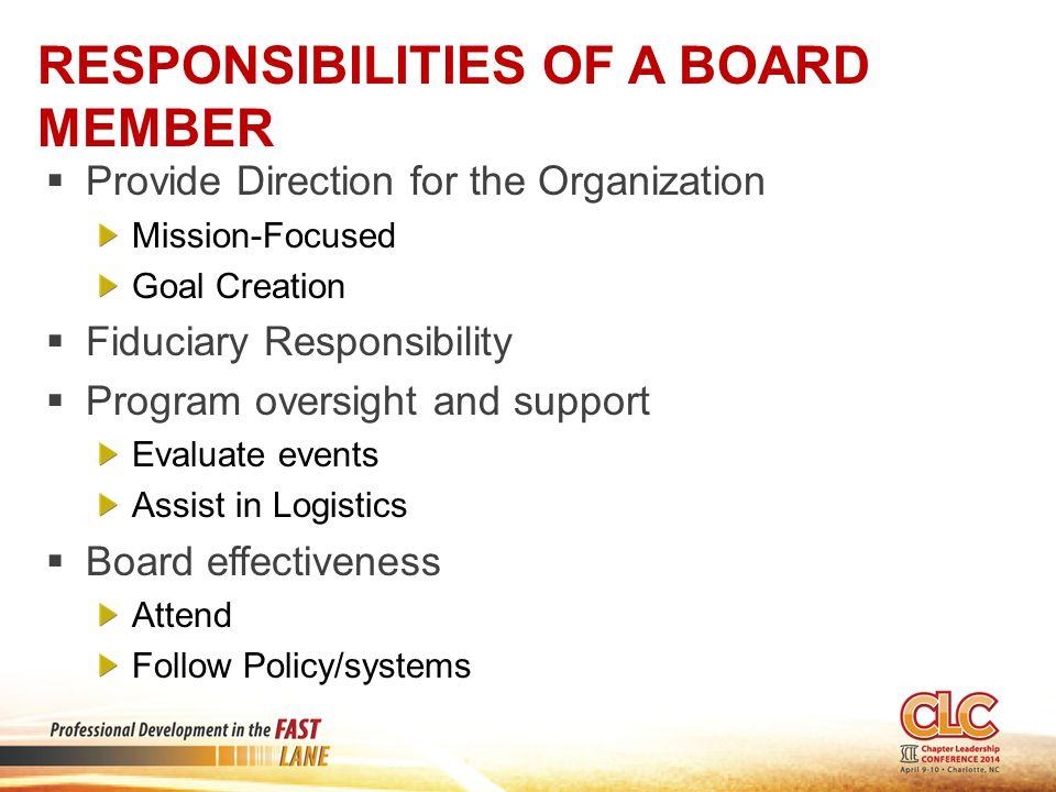 Responsibilities of a Board Member