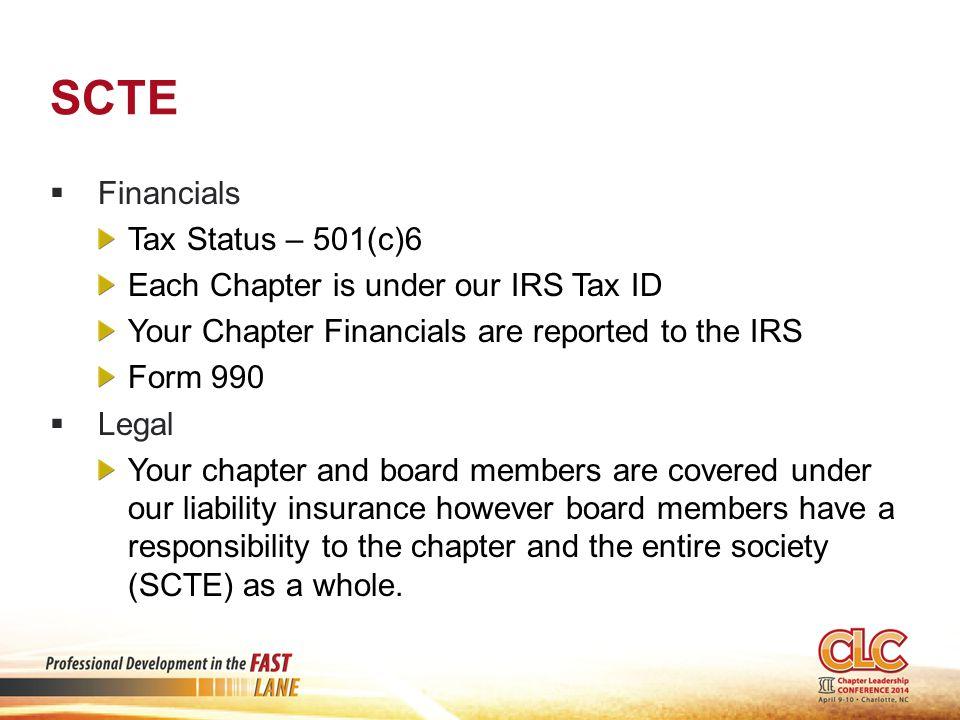 SCTE Financials Tax Status – 501(c)6