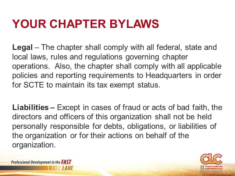 Your chapter bylaws