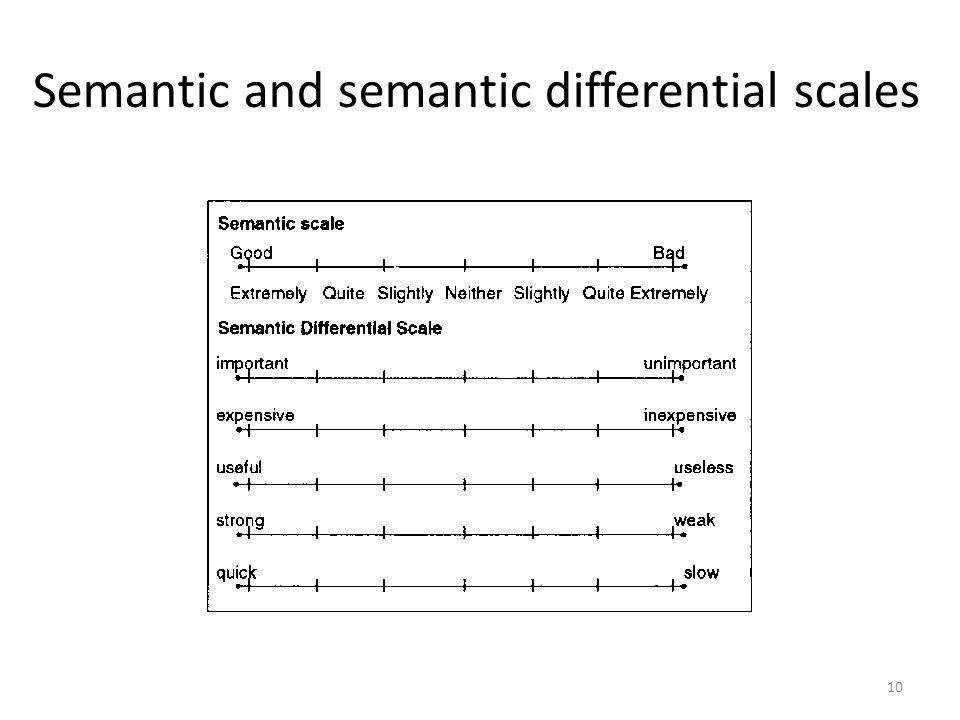 Semantic and semantic differential scales