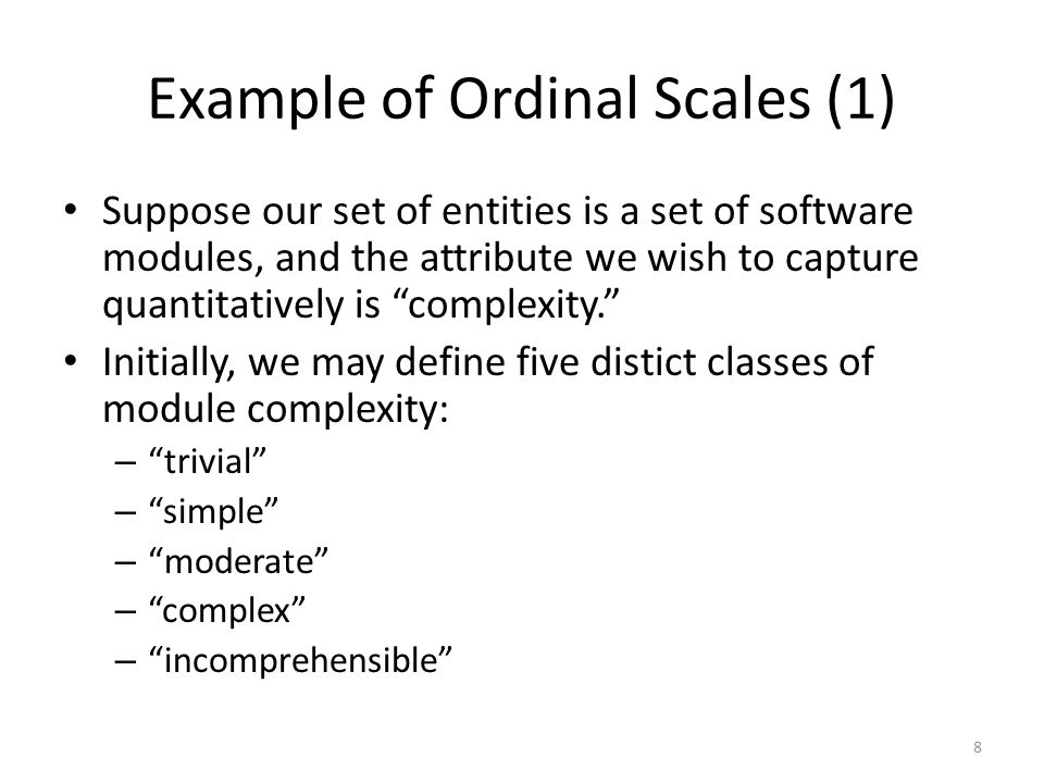 Example of Ordinal Scales (1)