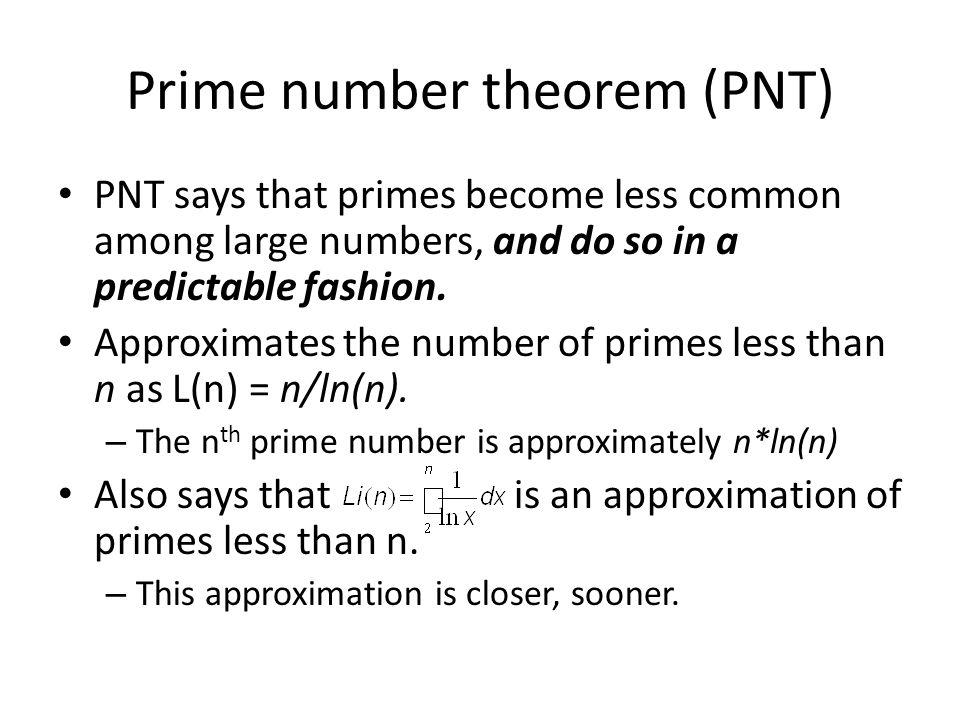 Prime number theorem (PNT)