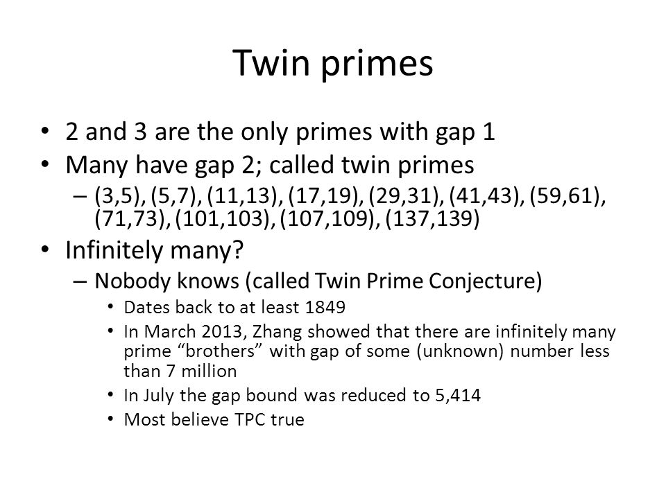 Twin primes 2 and 3 are the only primes with gap 1