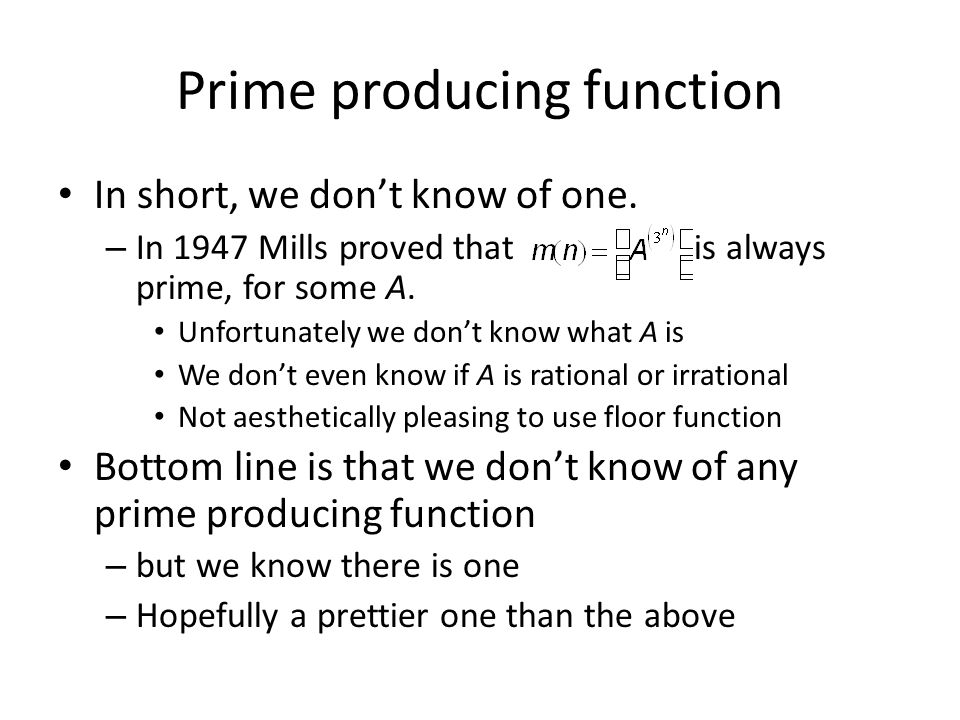 Prime producing function