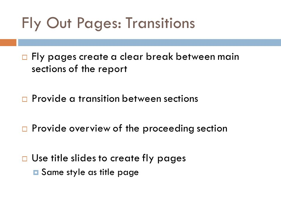 Fly Out Pages: Transitions