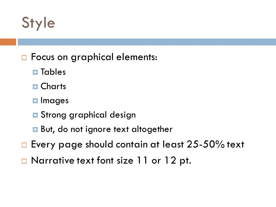 Style Focus on graphical elements: