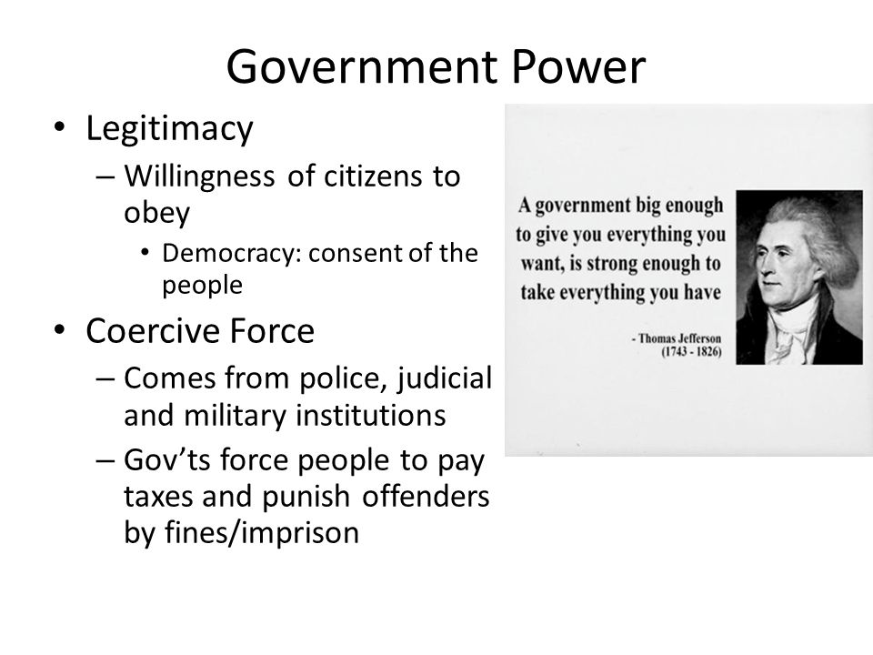 Government Power Legitimacy Coercive Force