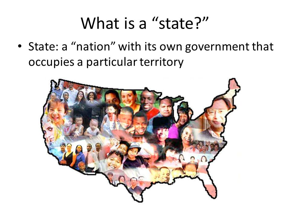 What is a state State: a nation with its own government that occupies a particular territory
