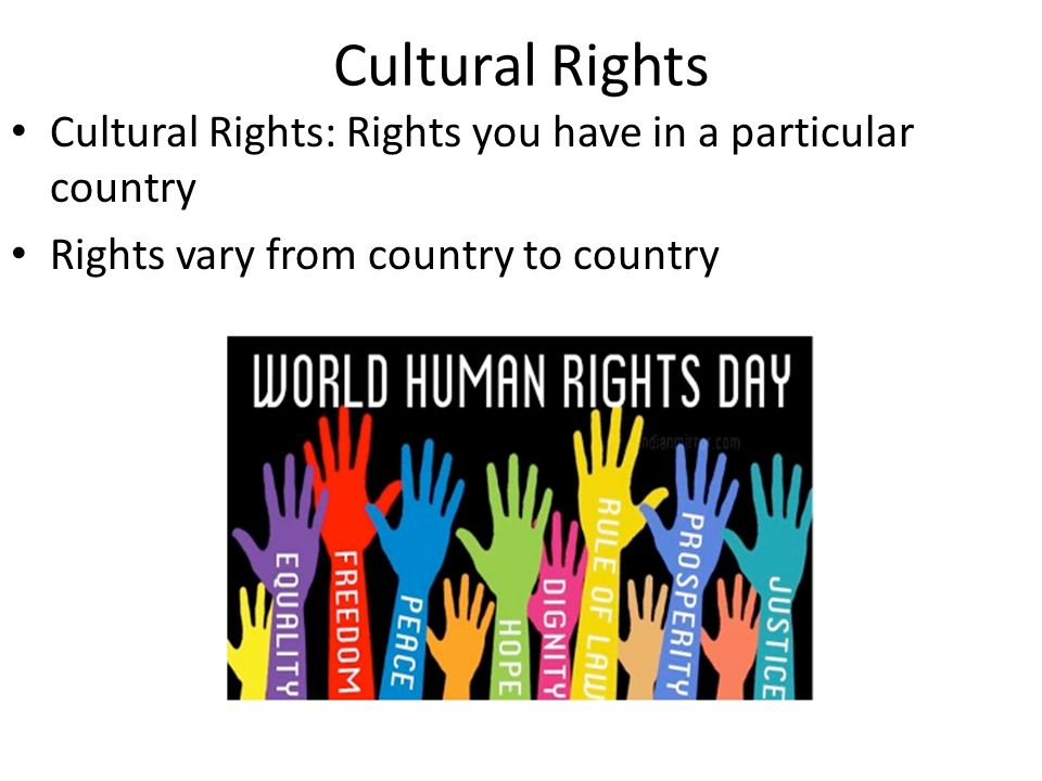 Cultural Rights Cultural Rights: Rights you have in a particular country.