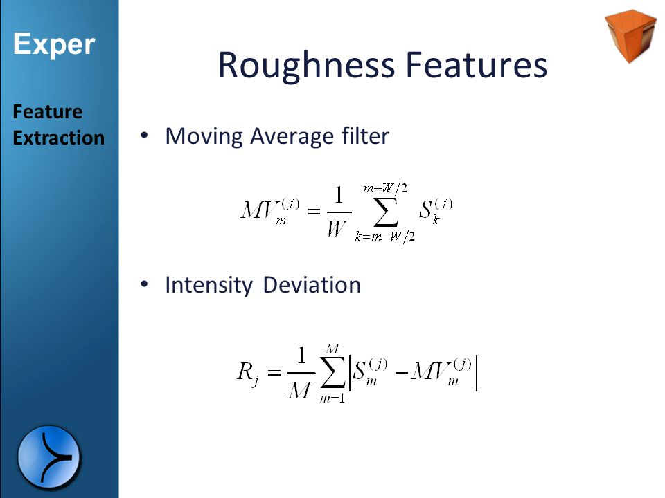 Roughness Features Moving Average filter Intensity Deviation Feature