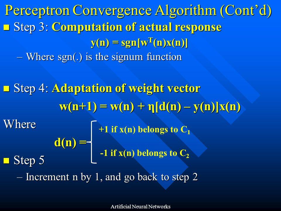 Perceptron Convergence Algorithm (Cont'd)