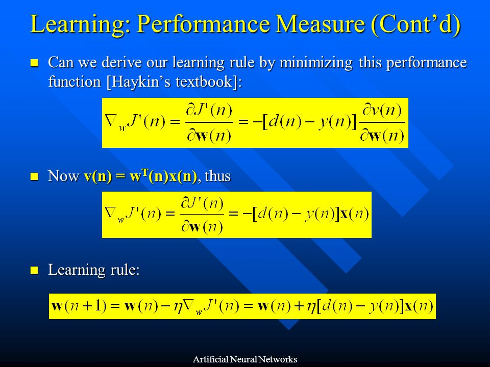 Learning: Performance Measure (Cont'd)