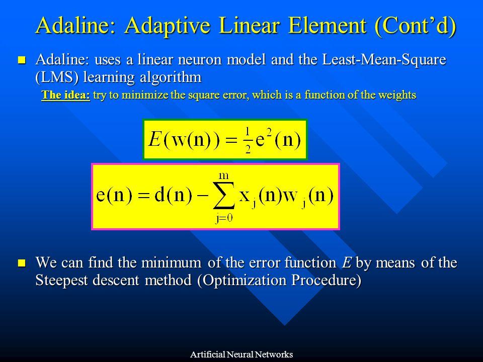 Adaline: Adaptive Linear Element (Cont'd)