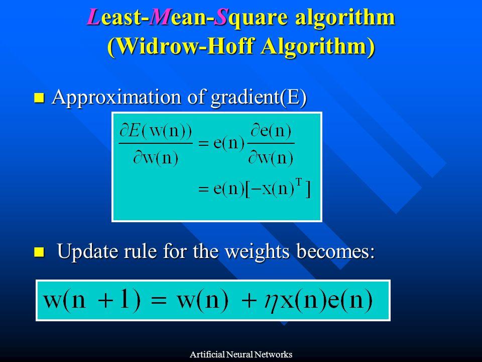 Least-Mean-Square algorithm (Widrow-Hoff Algorithm)