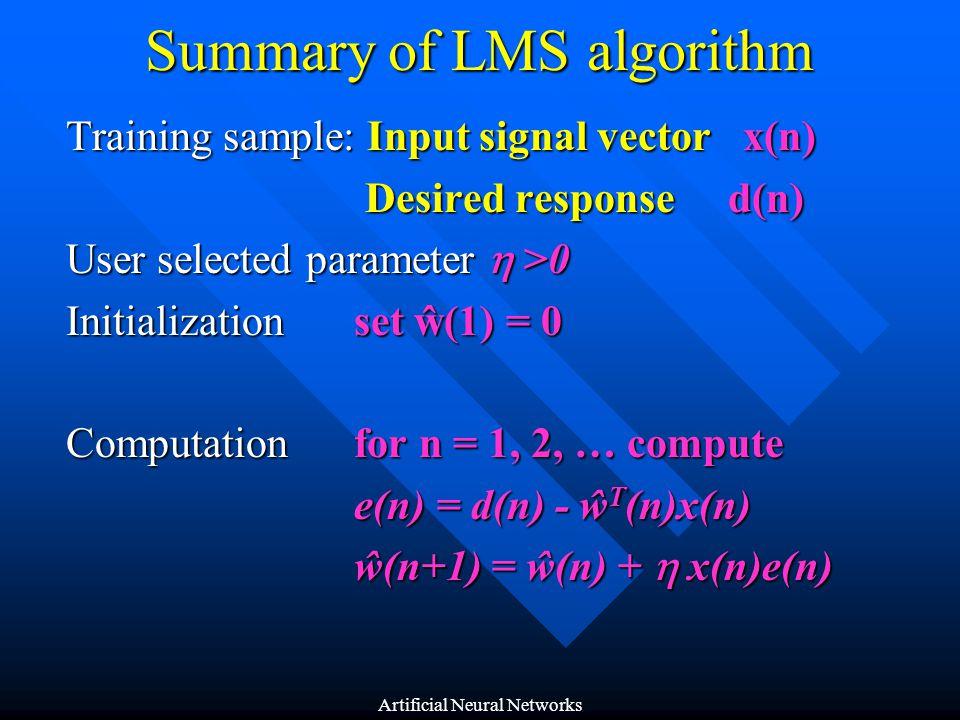 Summary of LMS algorithm