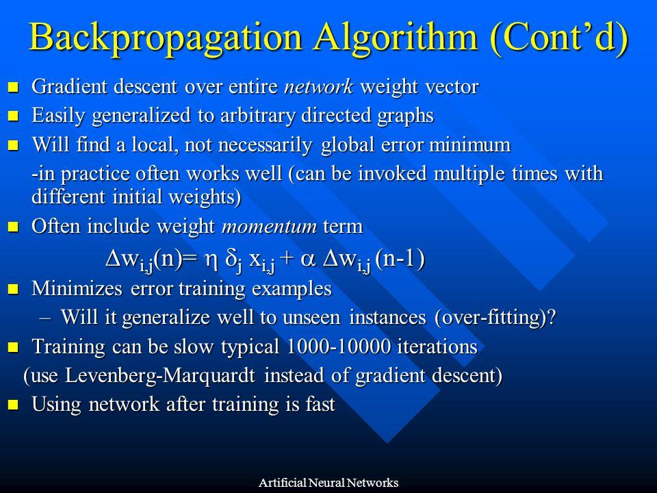 Backpropagation Algorithm (Cont'd)