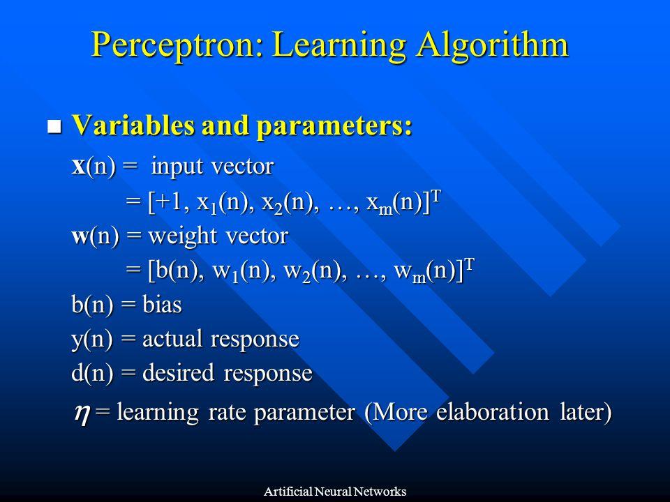 Perceptron: Learning Algorithm