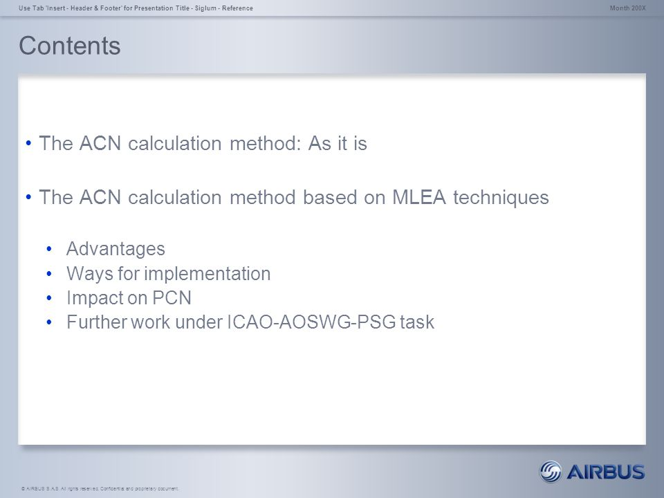 Contents The ACN calculation method: As it is