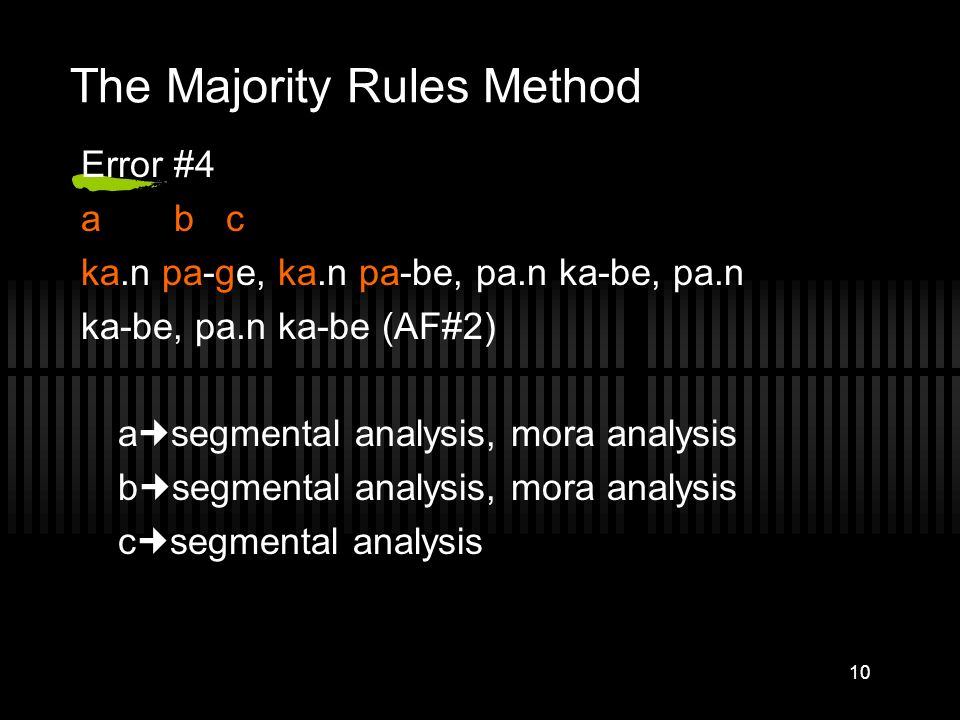 The Majority Rules Method