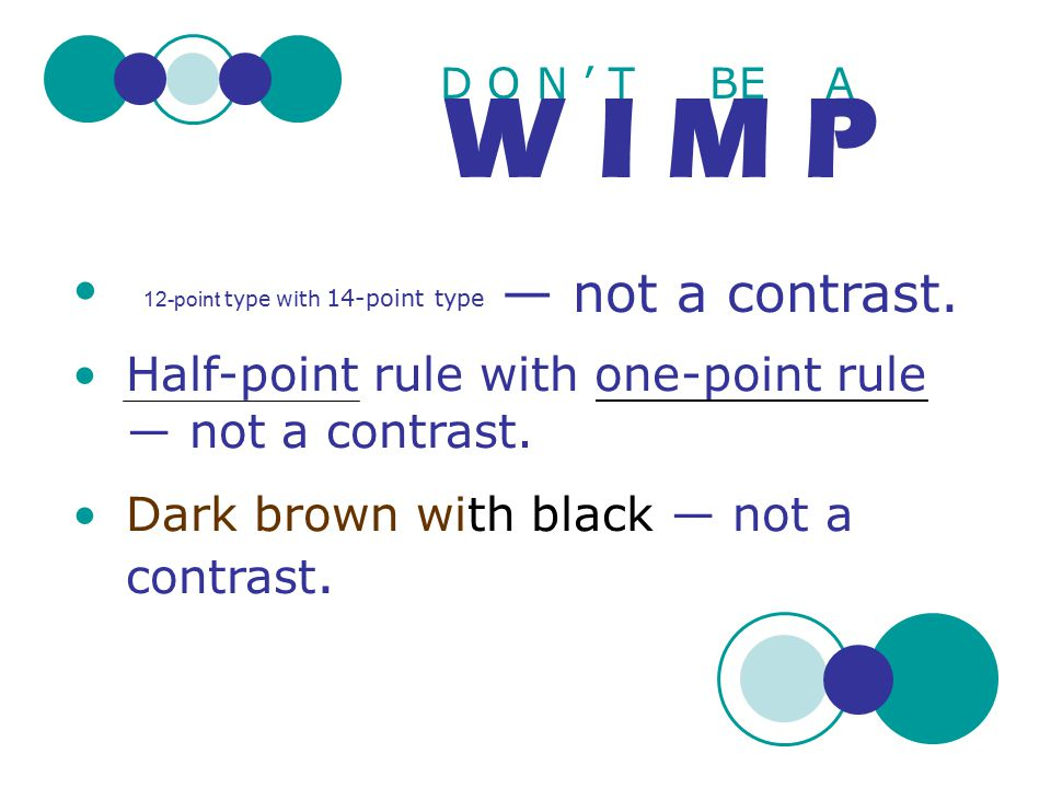 W I M P — not a contrast. 12-point type with 14-point type