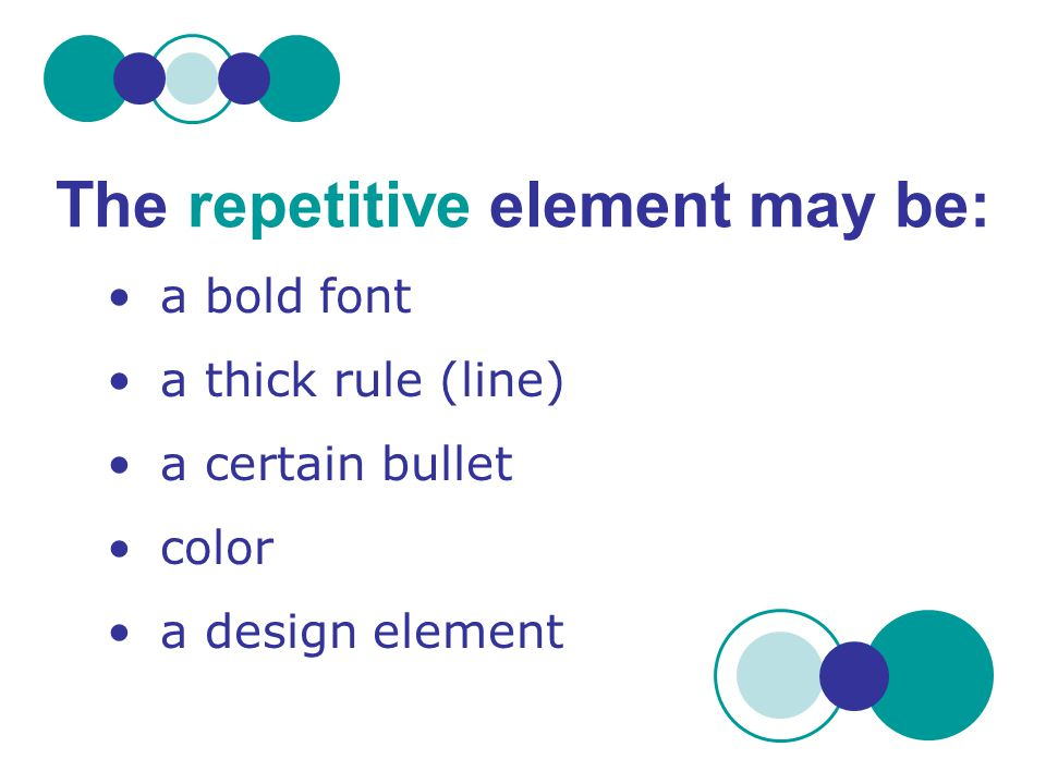 The repetitive element may be: