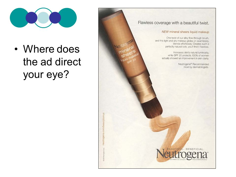 Where does the ad direct your eye