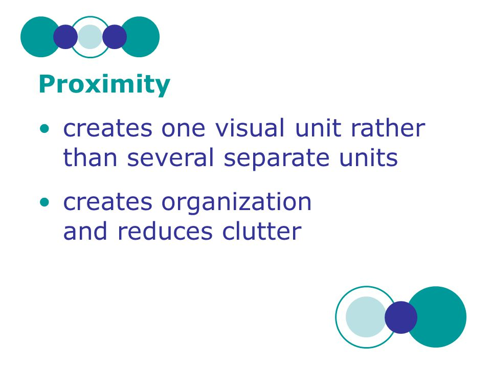 Proximity creates one visual unit rather than several separate units.