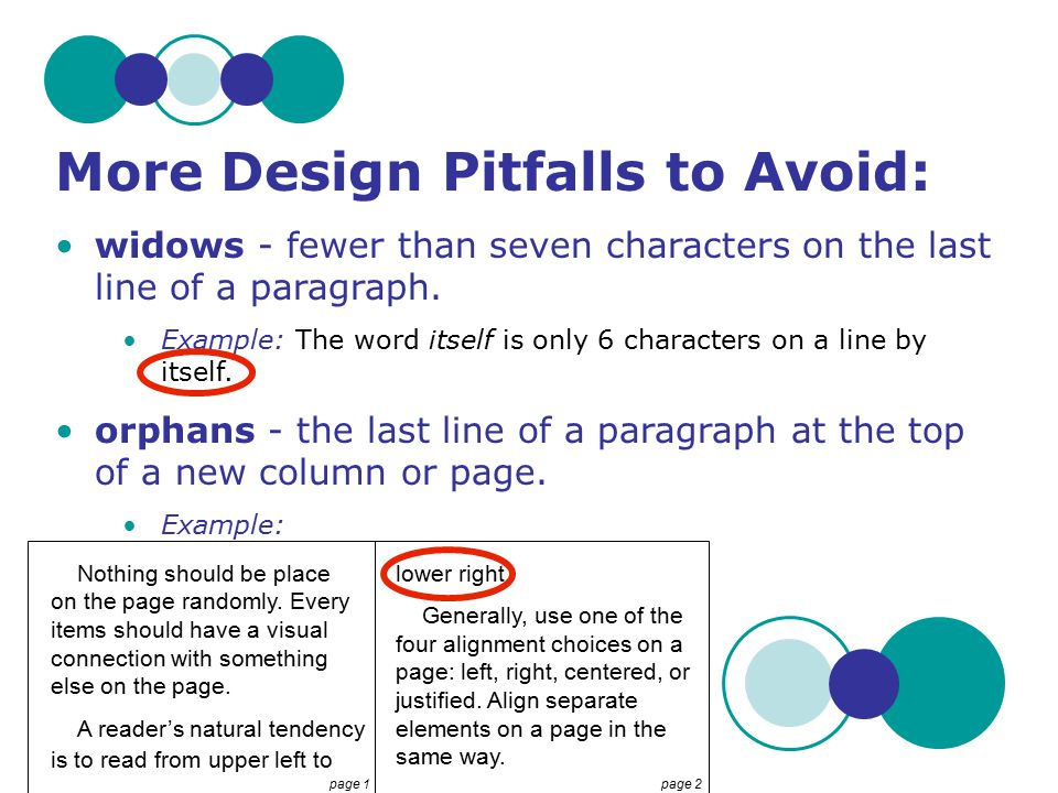 More Design Pitfalls to Avoid: