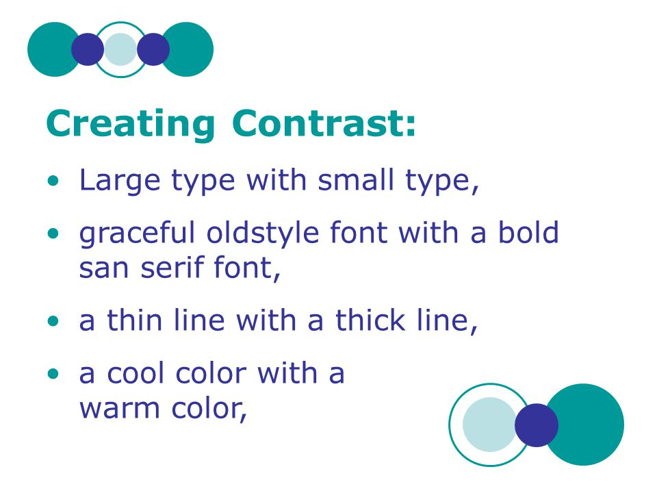 Creating Contrast: Large type with small type,