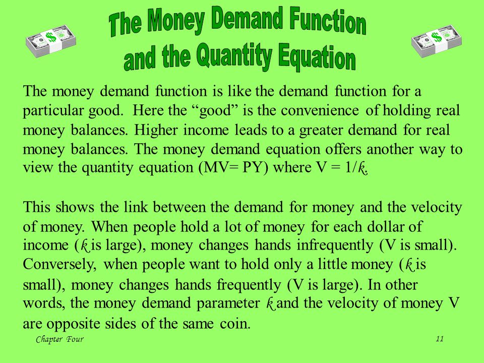 The Money Demand Function and the Quantity Equation