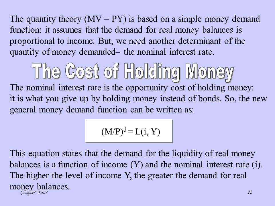 The Cost of Holding Money