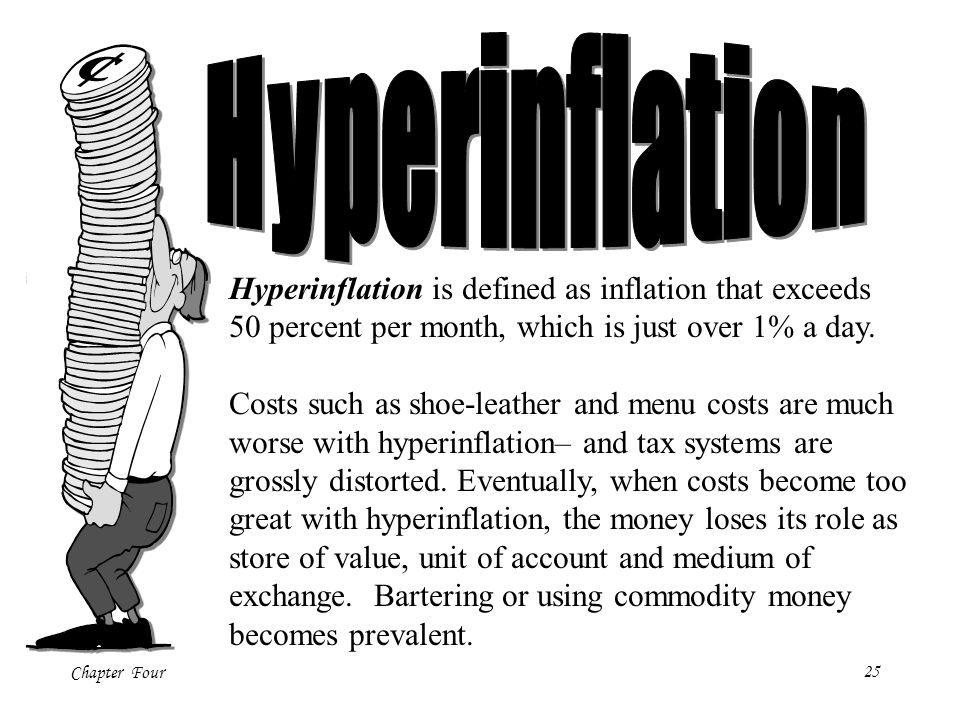 Hyperinflation Hyperinflation is defined as inflation that exceeds 50 percent per month, which is just over 1% a day.