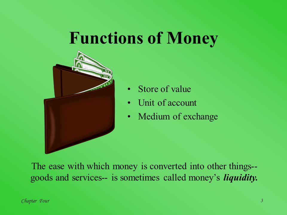 Functions of Money Store of value Unit of account Medium of exchange