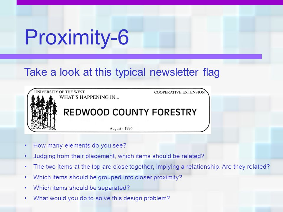 Proximity-6 Take a look at this typical newsletter flag