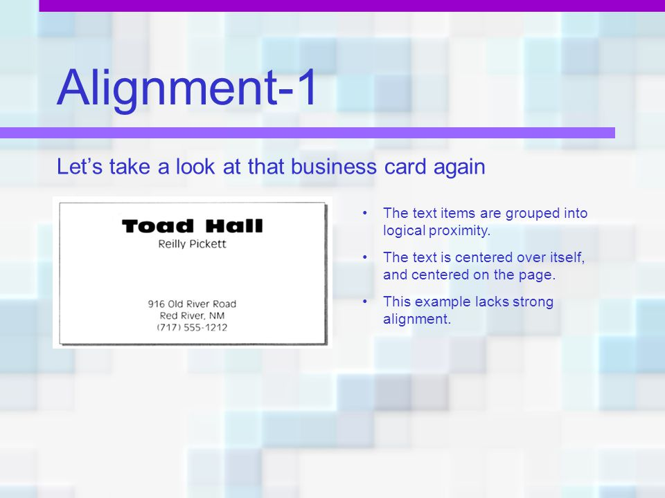 Alignment-1 Let's take a look at that business card again