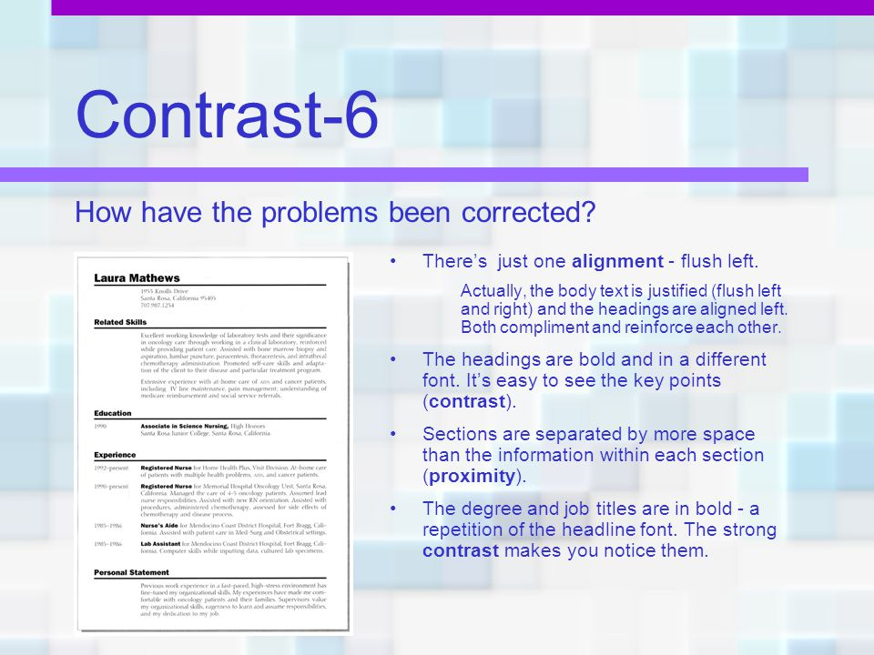 Contrast-6 How have the problems been corrected
