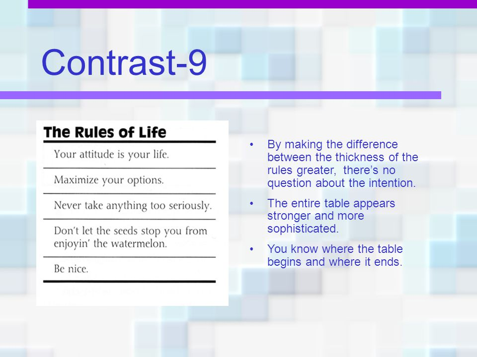 Contrast-9 By making the difference between the thickness of the rules greater, there's no question about the intention.