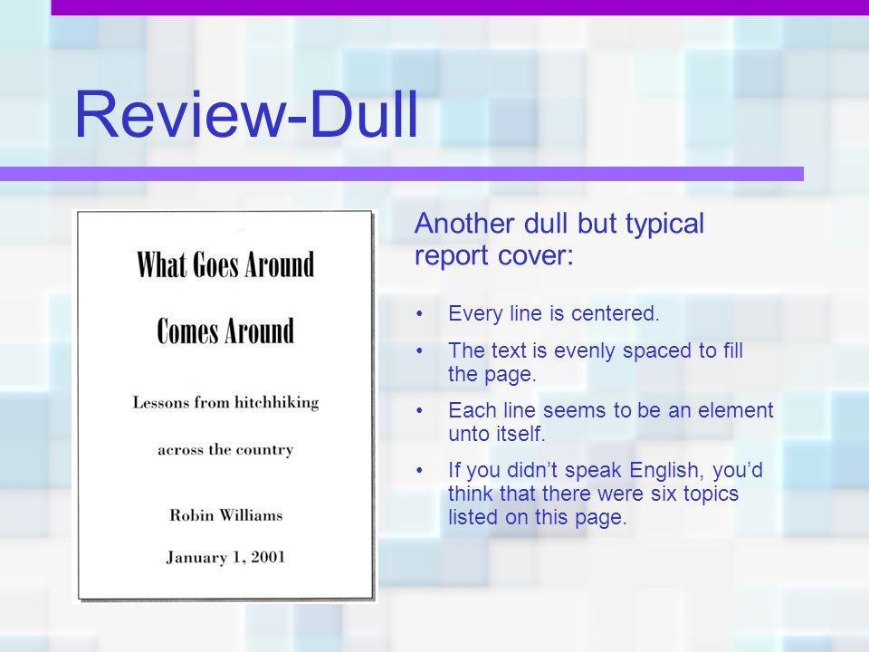 Review-Dull Another dull but typical report cover: