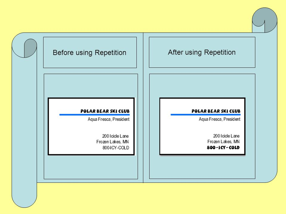 Before using Repetition After using Repetition