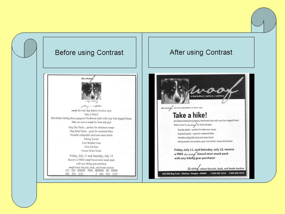 Before using Contrast After using Contrast