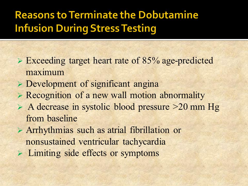 Reasons to Terminate the Dobutamine Infusion During Stress Testing