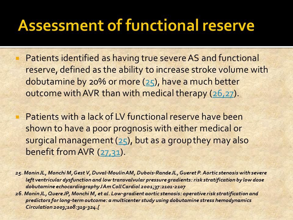 Assessment of functional reserve
