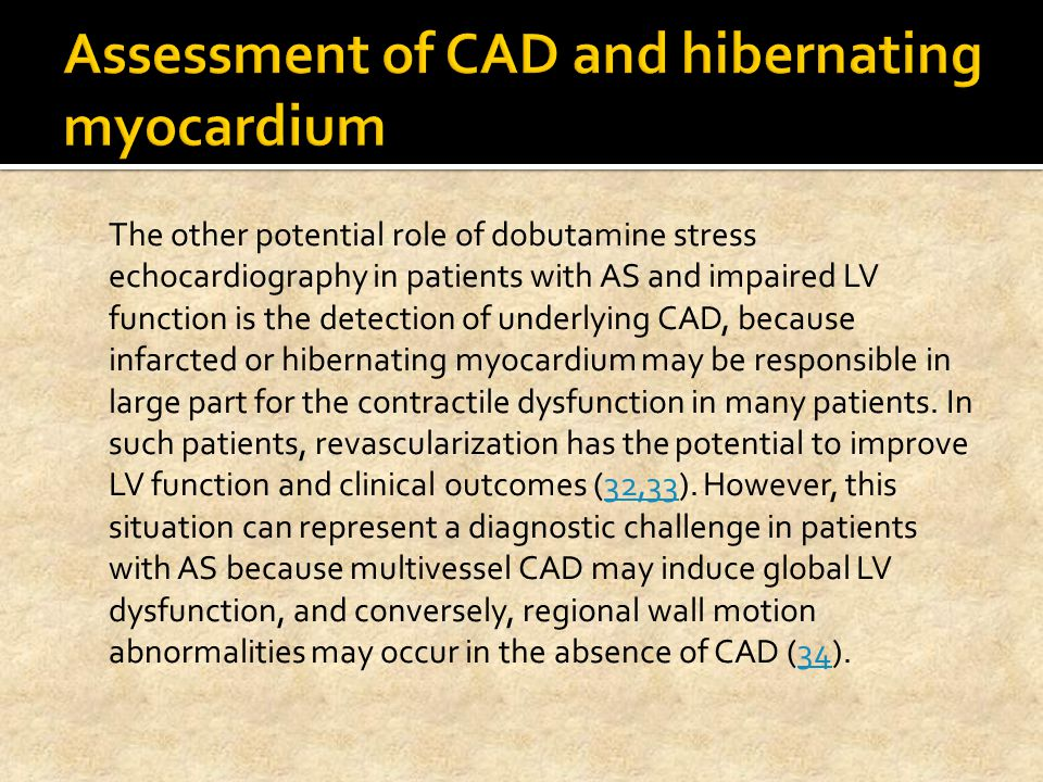 Assessment of CAD and hibernating myocardium